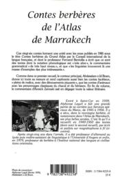 Contes berbères de l'atlas de Marrakech - 4ème de couverture - Format classique