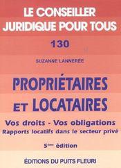 Proprietaires Et Locataires ; Vos Droits Vos Obligations ; 5e Edition - Intérieur - Format classique