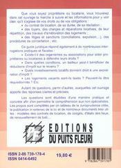Proprietaires Et Locataires ; Vos Droits Vos Obligations ; 5e Edition - 4ème de couverture - Format classique