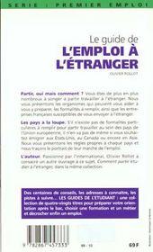 Le Guide De L'Emploi A L'Etranger 98 - 4ème de couverture - Format classique
