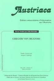 Austriaca N.54 ; Gregor Von Rezzori - Intérieur - Format classique