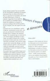 Discours D'Expert Et Democratie - 4ème de couverture - Format classique