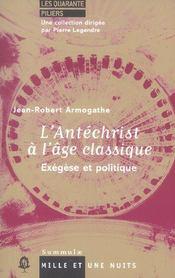 L'Antechrist A L'Age Classique - Intérieur - Format classique