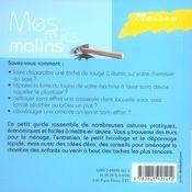 Maison, Mes Trucs Malins - 4ème de couverture - Format classique