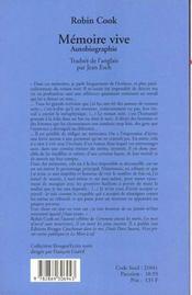 Mémoire vive. Autobiographie - 4ème de couverture - Format classique