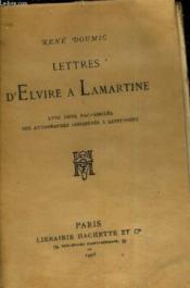 Lettres D'Elvire A Lamartine. - Couverture - Format classique