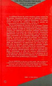 Les Politiques Fiscales Sous La Cinquieme Republique - 4ème de couverture - Format classique