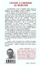 Chasse A L'Homme Au Burundi ; Journal D'Un Expatrie, Octobre 1993 - 4ème de couverture - Format classique