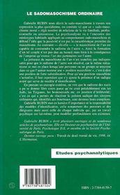 Le sadomasochisme ordinaire - 4ème de couverture - Format classique