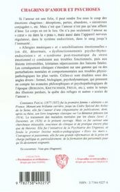 Chagrins D'Amour Et Psychoses - 4ème de couverture - Format classique