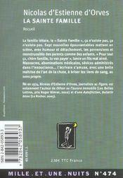 La Sainte Famille - 4ème de couverture - Format classique