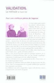 Validation La Methode Naomie Feil - 4ème de couverture - Format classique