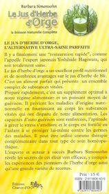 Le Jus D'Herbe D'Orge - La Boisson Naturelle Complete - 4ème de couverture - Format classique
