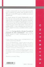Travaux Diriges De Droit Constitutionnel - 4ème de couverture - Format classique