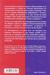 Institutions Administratives Europeennes Et Francaises Etudes Politiques Concours Administratifs - 4ème de couverture - Format classique