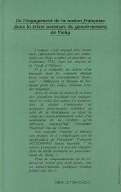 De L'Engagement De La Nation Francaise Dans La Triste Aventure Du Gouvernement De Vichy - 4ème de couverture - Format classique
