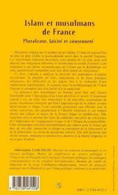 Islam et musulmans de France ; pluralisme, laïcité et citoyenneté - 4ème de couverture - Format classique