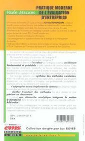 Pratique Moderne De L'Evaluation D'Entreprise Vade Mecum - 4ème de couverture - Format classique