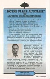 Notre Place Au Soleil Ou L'Afrique Des Pangermanistes - 4ème de couverture - Format classique