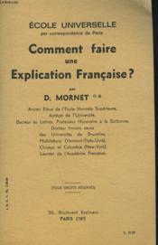 Comment Faire Une Explication Francaise ? - Couverture - Format classique