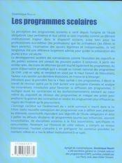 Les programmes scolaires ; des disciplines souveraines au socle commun - 4ème de couverture - Format classique