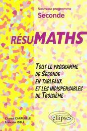 Resumaths Seconde Tout Le Programme De Seconde En Tableaux Et Les Indispensables De Troisieme - Intérieur - Format classique