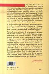 Le sens littéral ; langage, contexte, contenu - 4ème de couverture - Format classique