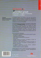 Memento Procedure Penale - 4ème de couverture - Format classique