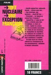 Tout nucleaire : une exception française - 4ème de couverture - Format classique