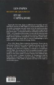 Les Papes Et Le Capitalisme - 4ème de couverture - Format classique