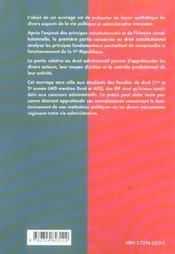 Precis De Droit Public 1er Cycle Universitaire Instituts D'Etudes Politiques Concours Administratifs - 4ème de couverture - Format classique