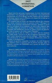 Droit International Humanitaire ; Theorie Generale Et Realites Africaines - 4ème de couverture - Format classique