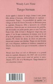 Tango Birman - 4ème de couverture - Format classique