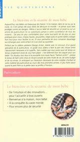 Le bien-être et la sécurité de mon bébé - 4ème de couverture - Format classique