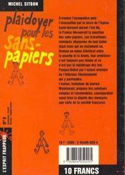 Plaidoyer Pour Les Sans-Papiers - 4ème de couverture - Format classique