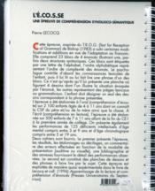L'E.CO.S.SE ; une épreuve de compréhension syntaxico-sémantique ; manuel - 4ème de couverture - Format classique