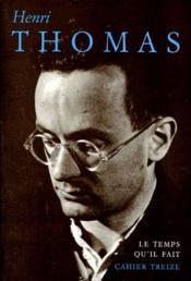 Henri Thomas - Couverture - Format classique