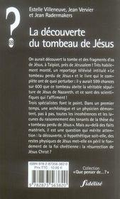 La Decouverte Du Tombeau De Jesus - 4ème de couverture - Format classique