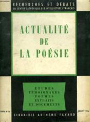 Actualite De La Poesie. Recherches Et Debats N°16. - Couverture - Format classique