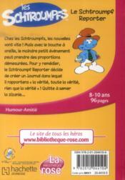 Les Schtroumpfs t.2 ; le Schtroumpf reporter - 4ème de couverture - Format classique