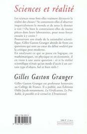 Sciences et realite - 4ème de couverture - Format classique