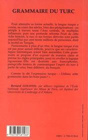 Grammaire du turc, ouvrage pratique à l'usage des francophones - 4ème de couverture - Format classique