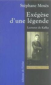 Exégèse d'une légende ; lectures de kafka - Intérieur - Format classique
