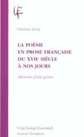 La Poesie En Prose Francaise Du Xvii Siecle A Nos Jours ; Histoire D'Un Genre - Intérieur - Format classique