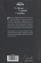 Mon Frere Est Parti Ce Matin - 4ème de couverture - Format classique