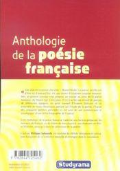 Anthologie De La Poesie Francaise - 4ème de couverture - Format classique