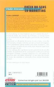 Creer Du Sens En Marketing. Vade-Mecum - 4ème de couverture - Format classique