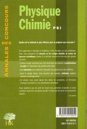 Physique-Chimie Psi - 4ème de couverture - Format classique