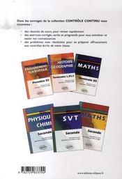 Controle Continu ; Sciences Economiques Sociales ; 2nde - 4ème de couverture - Format classique