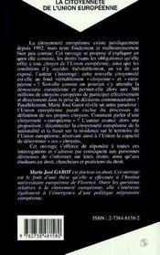 La Citoyennete De L'Union Europeenne - 4ème de couverture - Format classique